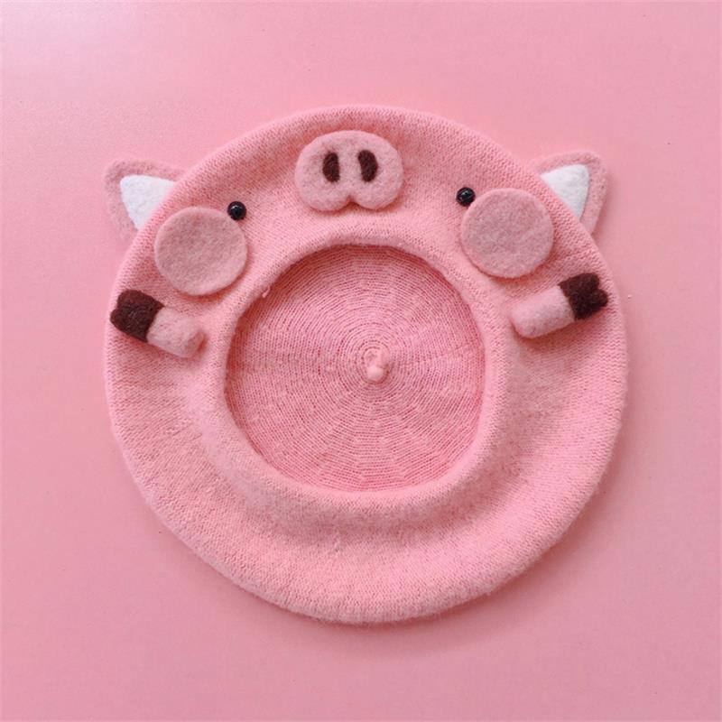 Doce feminino artesanal bonito rosa piglet boina lolita jovem menina kawaii pintor boné quente outono inverno chapéu acessórios de cabelo