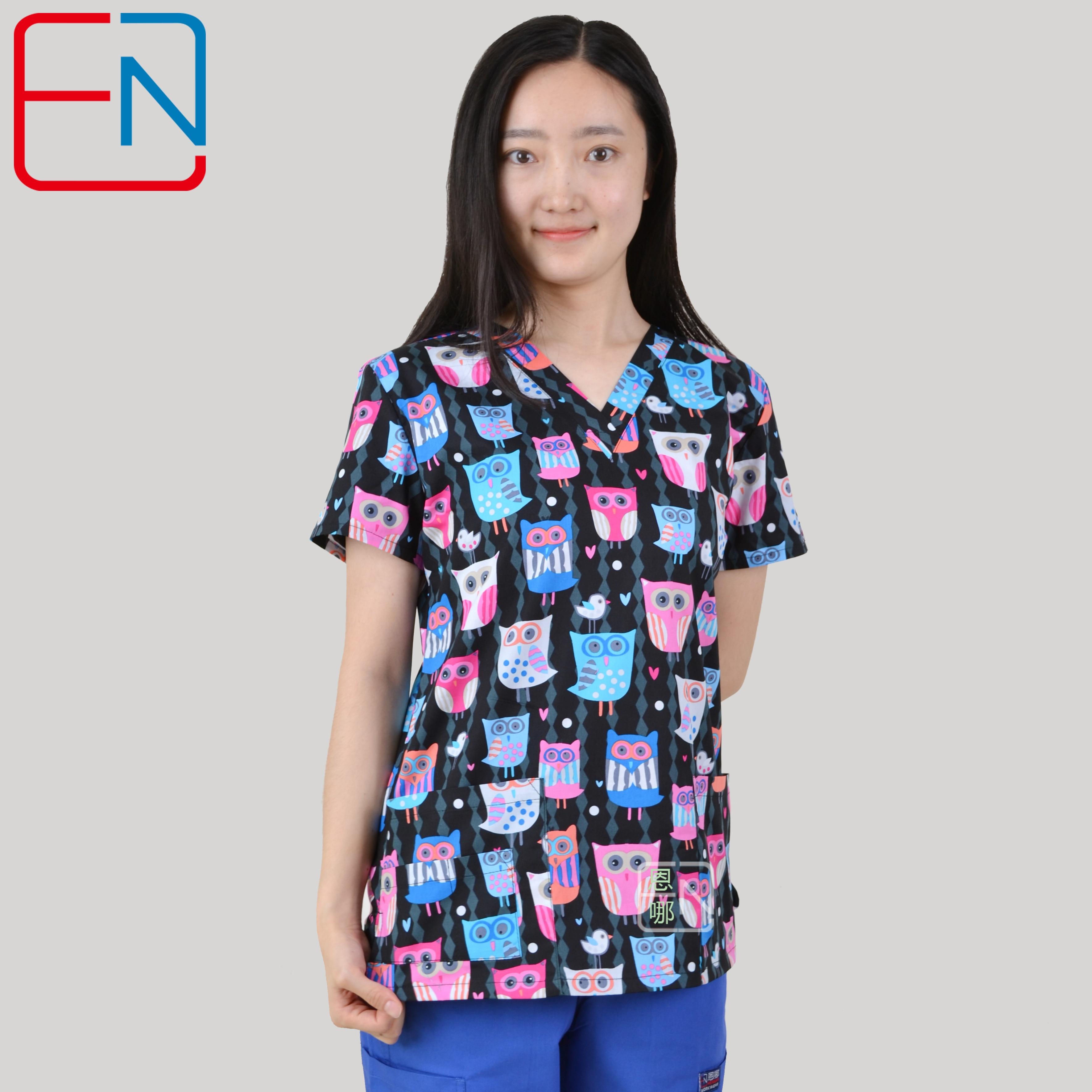 Image 3 - Brand medical scrub tops for women surgical scrubs,scrub uniform in 100% print cotton Chengse maotouyingScrub Tops & Bottoms   -