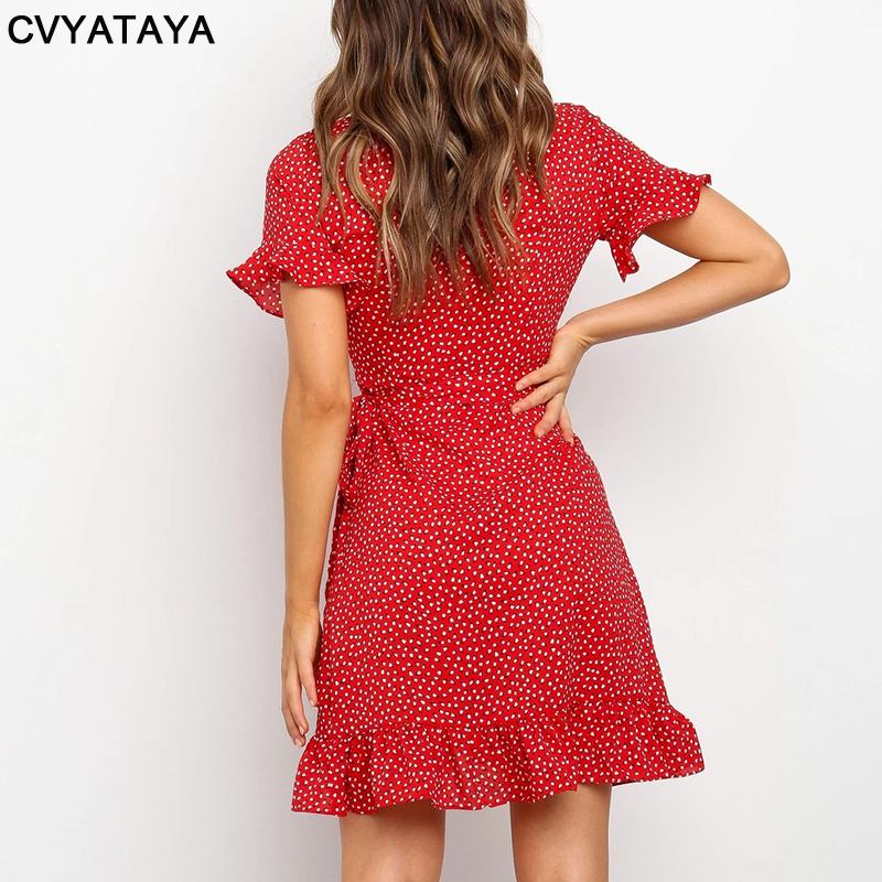 Rot Sexy V-ausschnitt Floral Print Selbst Krawatte Wrap Kleid Mini Kleid Frauen Boho Rüschen Saum Flare Hülse Sommer Mini kleider Vestidos 5