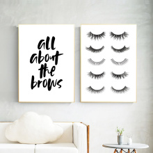 Eyelash Print Painting  Quotes Canvas Posters And Prints Black White Vogue Wall Pictures For Girl Room Decor