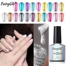 FairyGlo 10ml Platinum Glitter Gel Nail Polish Soak Off Bling Gel Varnish Hybrid Semi Permanent UV Gel Polish Nail Art Lacquer(China)