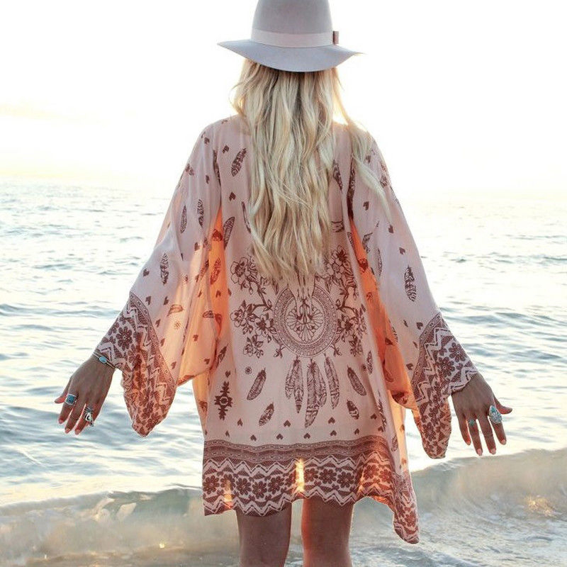 Swimsuit Coverup Summer Chiffon Geometrical Printing Bathing Suit Cover Up Tuniques Pour Plage Women Beach Dress Cover Up