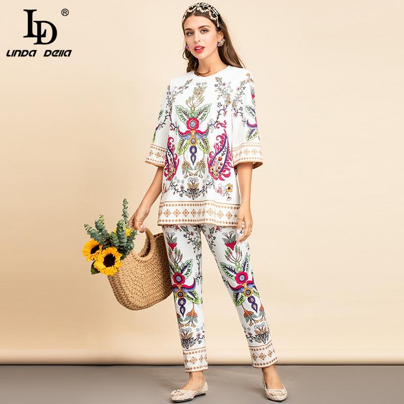LD LINDA DELLA New 2021 Summer Fashion Designer Two Pieces Pants Set Women Vintage Floral Print Loose Tops and Pants Suits