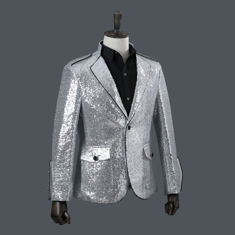 Brand High Quality Performance Men Fashion Lapel Slim Fit Silver Sequins Suit Jacket Nightclub Stage Singer Blazer Costume Homme