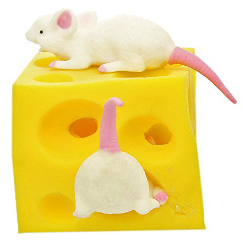 Mouse and Cheese Toy Sloth Hide and Seek Stress Relief Toy 2 Squishable Figures And Cheese Block Stressbusting Fidget Toys(China)