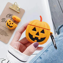 Halloween Pumpkin Shockproof Silicone Case with Hook for Airpods Earphones Protective For Earphone Accessories