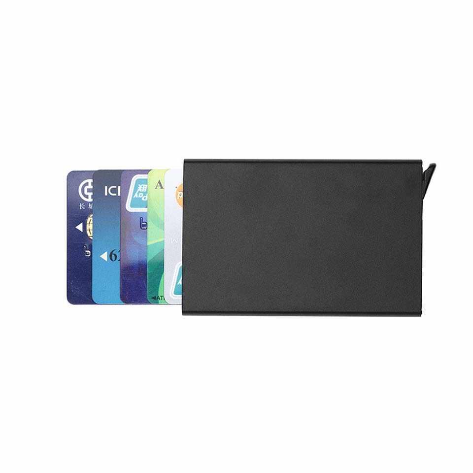 Métal hommes support de carte rfid en alliage d'aluminium porte-carte de crédit en cuir portefeuille antivol hommes portefeuilles automatique Porta Tarjetas