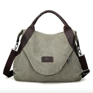 Image 1 - JIULIN Brand Large Pocket Casual Tote Womens Handbag Shoulder Handbags Canvas Leather Capacity Bags For Women