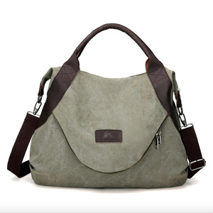 Image 1 - Jiulin ブランド大ポケットカジュアル女性のハンドバッグのショルダーバッグハンドバッグキャンバスレザー容量のバッグ女性
