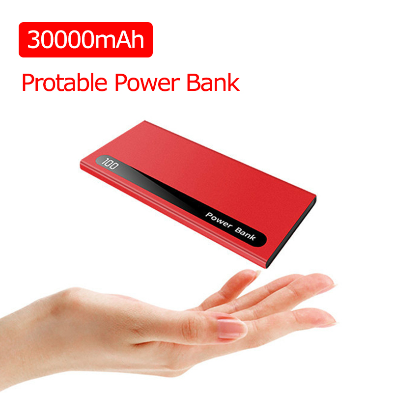 30000mAh Power Bank Portable External Battery Ultra-thin Powerbank Dual USB Poverbank Charger For IPhone Xiaomi Huawei Samsung