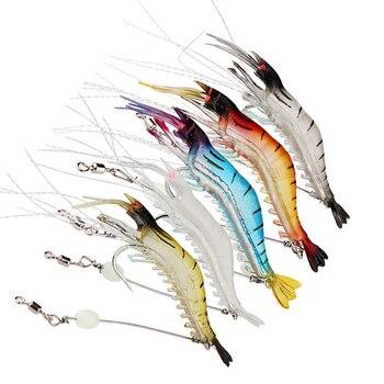 Απομίμηση Γαρίδα Για Ψάρεμα Πολύχρωμες Φωτεινές Μαλακό Αλιευτικό Εργαλείο