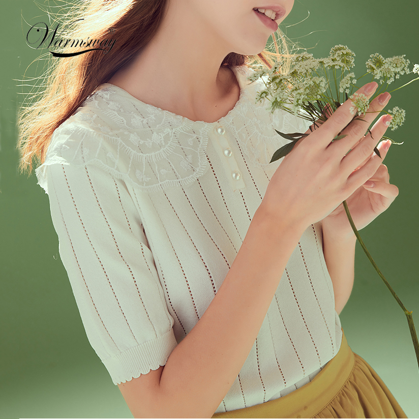 2020 Summer Lace Turn Down Collar Knitted Top New Wome Short Sleeve Sweet Sweater Solid Pullover CY-100