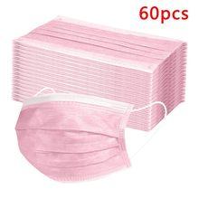 Masque facial jetable rose à boucles auriculaires, 10/30/60 pièces, masque buccal en tissu non tissé rose, anti-poussière, respirant, filtre à 3 plis