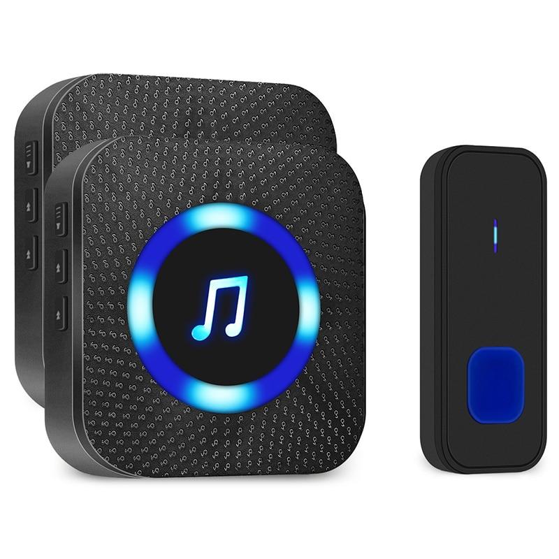 Waterproof Wireless Doorbell Kit, Door Bell Alarm With 1000 Feet Operating Range, Door Chime Alarm With 4 Volume Levels, 55 Melo