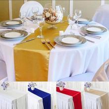 Saten masa koşucular düğün parti dekorasyon için Modern masa koşucu yeni yıl dekor ev için 30cm x 275cm