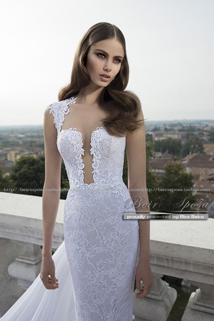 Lace Mermaid Wedding Dress Free Shipping New Hot Sexy See Through Back 2016 Casamento Marriage Vestidos De Novia Long Bride Gown
