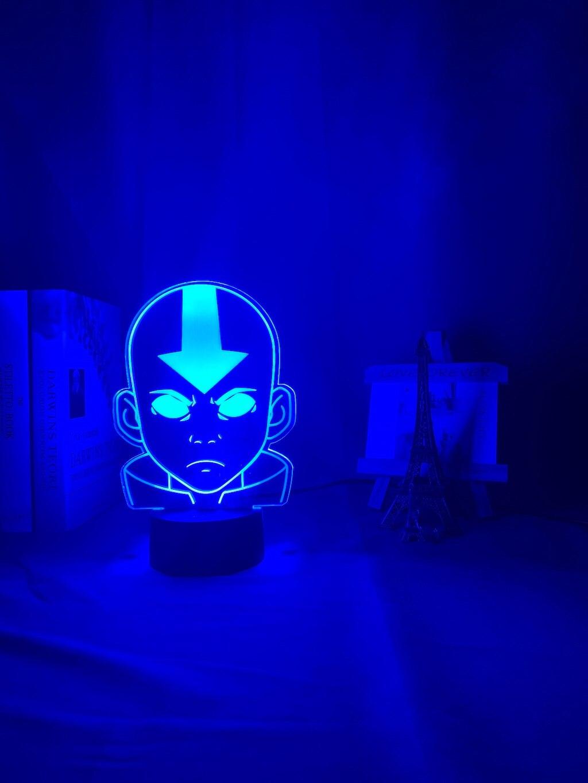 H69ecfd912ab84d1bb5531676a342e89fl Luminária Acrílico 3d Lâmpada Nightlight Avatar The Last Airbender para As Crianças Decoração Do Quarto Da Criança A Lenda de Aang Figura Mesa Appa luz da noite