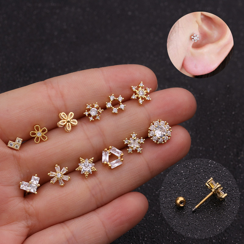1Piece Gold And Silver Color Cz Cartilage Moon Star Flower Crown Helix Piercing Jewelry Tragus Stud Conch Earring