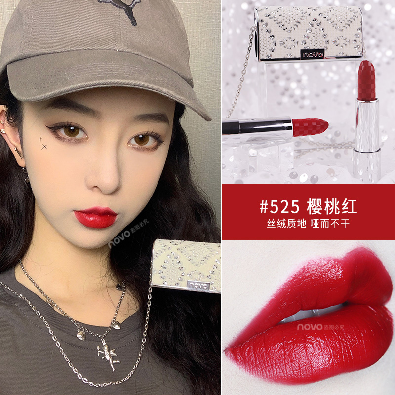 Novo matte lipstick in handbag with necklace 6 colors tomato red pumpkin color 5D carved Mosaic matte lipstick pencil <font><b>BN180</b></font> image
