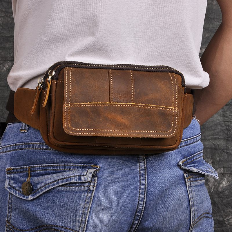 Fashion Quality Leather Male Crossbody Sling Bag Design Casual Travel Cigarette Case Pouch Travel Fanny Waist Belt Bag Men 341