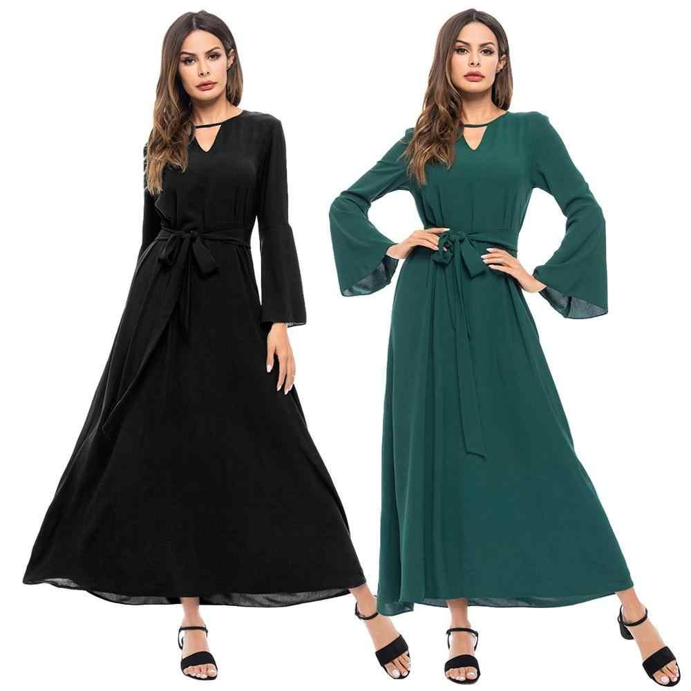 Phụ nữ Tay Loe Dài Choker Cổ Yếm Thời Trang Hồi Giáo Abaya Ả Rập Dài Đảng Bầu Voan Kèm Thắt Lưng 2019 Thời Trang Thu Đông