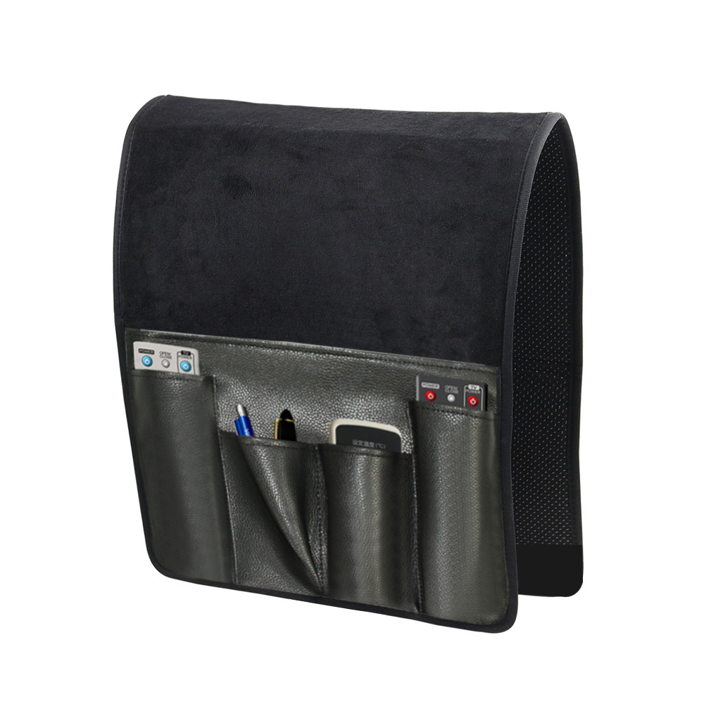 Leather And Cashmere 5 <font><b>Pockets</b></font> Armchair <font><b>Sofa</b></font> Chair Storage Bag <font><b>Remote</b></font> Control Phone Sundries Holder Home Bedside Couch Organizer image