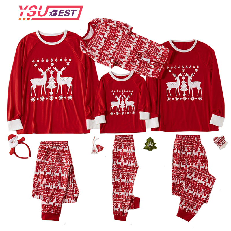 Christmas Family Pajamas Set Christmas Clothes Deer Parent-child Suit Home Sleepwear Baby Kid Dad Mom Matching Family Outfits