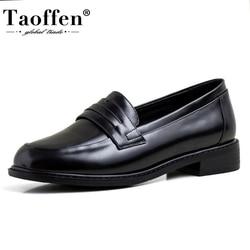 Taoffen mujer bombas Lofers punta redonda zapatos de tacón bajo sin cordones borla zapatos clásicos Vintage zapatos para mujer, calzado talla 33-40