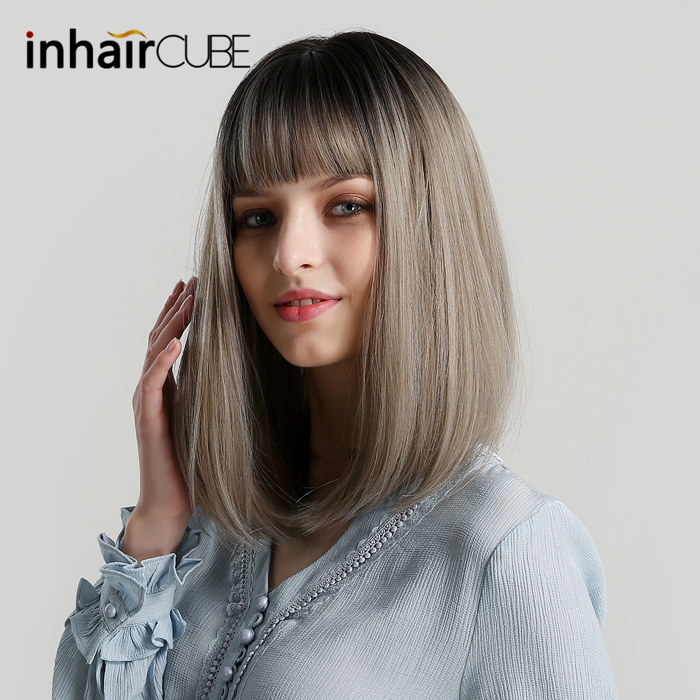 Inhaircube Synthetic Wigs With Bangs Long Straight Ombre Grey For Women Fake Hair Natural Hairline 14 Inches Free Shipping