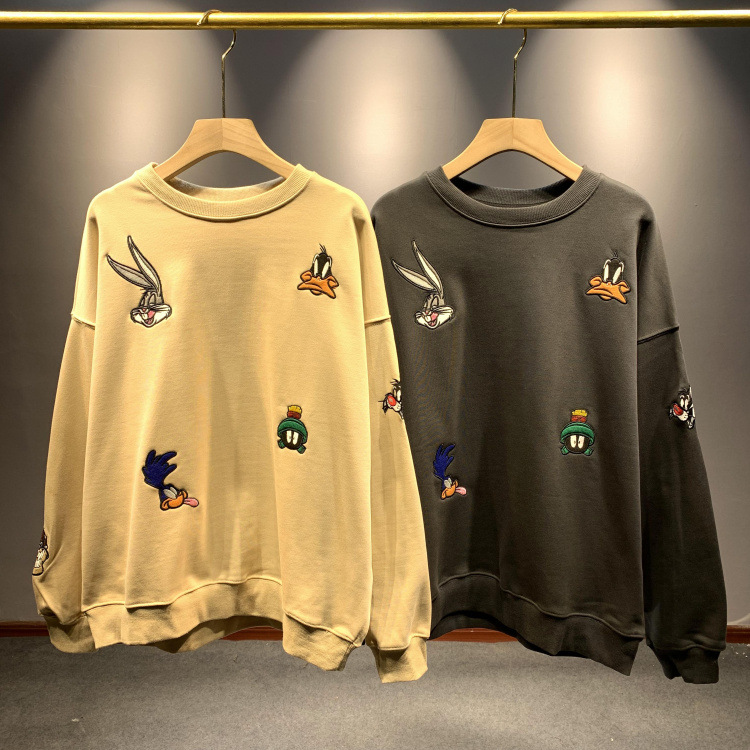 2020 Spring New Simple Cartoon Embroidered  Women's Round Neck Wild Loose Large Size Women's Shirt Tide