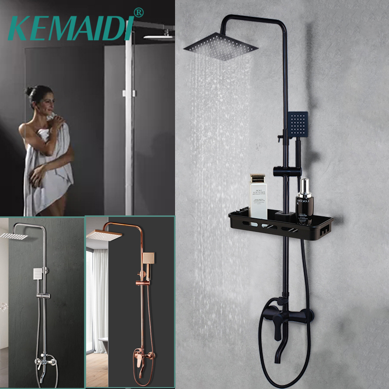 KEMAIDI Matte Black  amp Pink Bathroom Shower Set Rain Shower Head Bath Shower Mixer with Hand Shower Faucet  Rainfall Chrome Shower