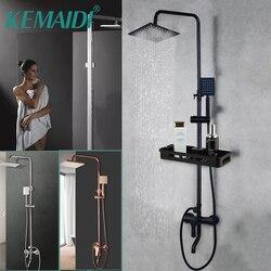 KEMAIDI, Set de ducha de baño negro y rosa mate, ducha de lluvia, ducha de baño, mezclador con grifo de ducha de mano, ducha cromada de lluvia