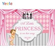 Yeele Baby Shower Backdrop Pink Curtain Newborn Girl Princess Birthday Custom Photography Background Vinyl For Photo Studio