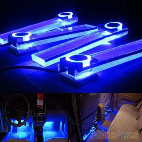 4 In 1 12V Blue Car Atmospheres Lamp Charge LED Interior Floor Decoration Lights