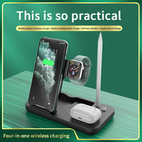 AIXXCO 15W Qi Fast Wireless Charger Stand For iPhone 11 Apple Watch 4 in 1 Foldable Charging Dock Station for Airpods Pro iWatch 1