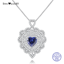 Shipei 100% 925 Sterling Silver Fine Jewelry Rose Gold Sapphire Emerald Ruby Heart Pendant Necklace for Women Anniversary Gift chic faux ruby heart bowknot necklace for women
