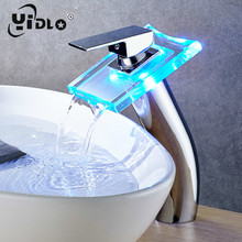 Bathroom LED Light Basin Faucet Above Counter Waterfall Taps High Basin Sink Mixer  Bathroom Faucet Antique Brass Vessel Faucet стоимость