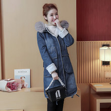 New 2020 arrival Fox Fur Hooded Thick Warm Long Denim Parkas Blue Color Cold Winter Jacket women The Lambs Coat Women Overcoat(China)
