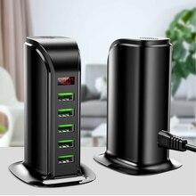 """5 יציאת USB מטען HUB LED תצוגת מטענים אוניברסלי נייד טלפון שולחני בית רב USB טעינת תחנת Dock האיחוד האירופי/ארה""""ב/בריטניה Plug"""