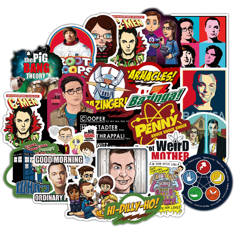 50pcs The Big Bang Theory Cartoon Stickers TV Series For Luggage Car Laptop Notebook Decal Fridge Skateboard Sticker F3
