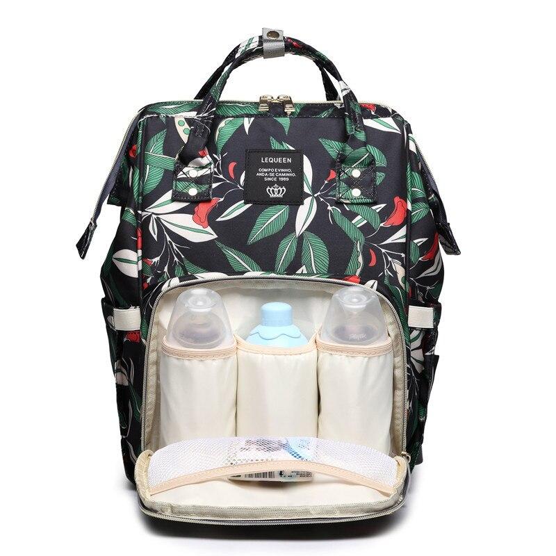 Lequeen Large Capacity Diaper Bag Multi-functional Leaves Print Mommy Travel Backpack Waterproof Bag Diaper Stroller Baby Bags