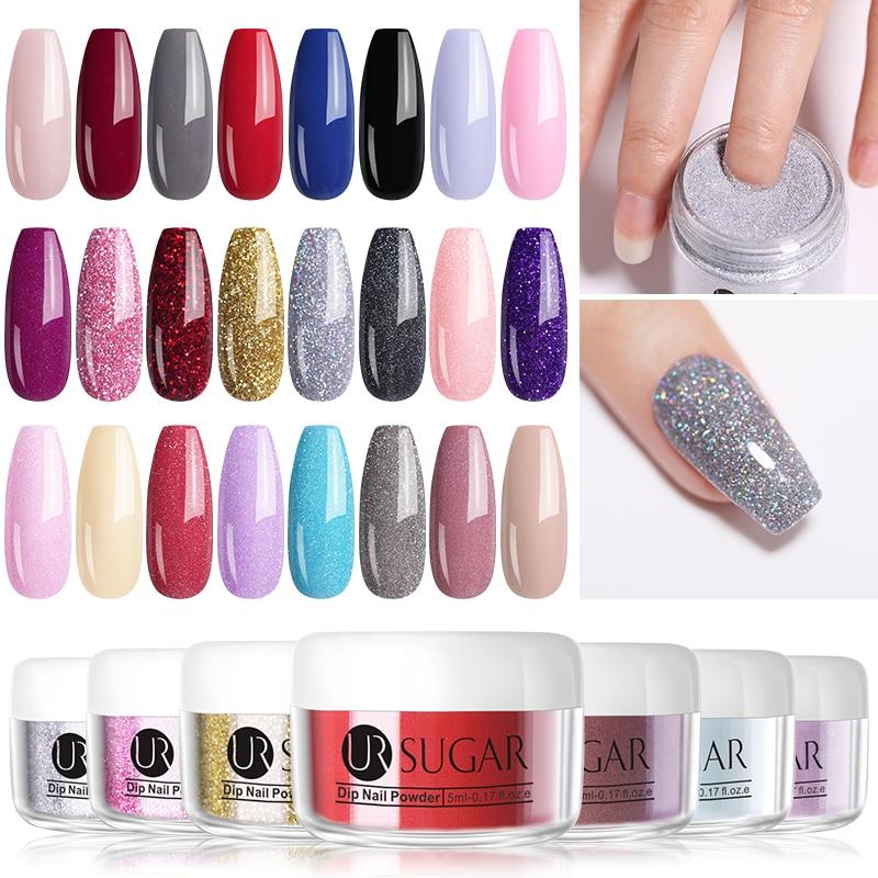 UR SUGAR Dipping Nail Powder Matte Effect Glitter Pigment Natural Dry Chrome For Gel Nail Art Decoration  5ml