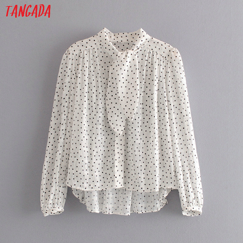Tangada Women Retro Dots Print Chiffon Blouse Bow Neck Long Sleeve Chic Female Casual Loose Shirt Blusas Femininas 6A03
