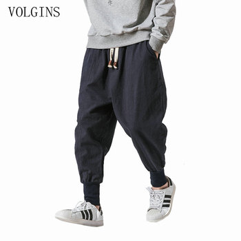 Streetwear Men Harem Pants Japanese Style Casual Cotton Linen Trouser Man Jogger Pants Chinese Baggy Pants Plus Size 5XL 1