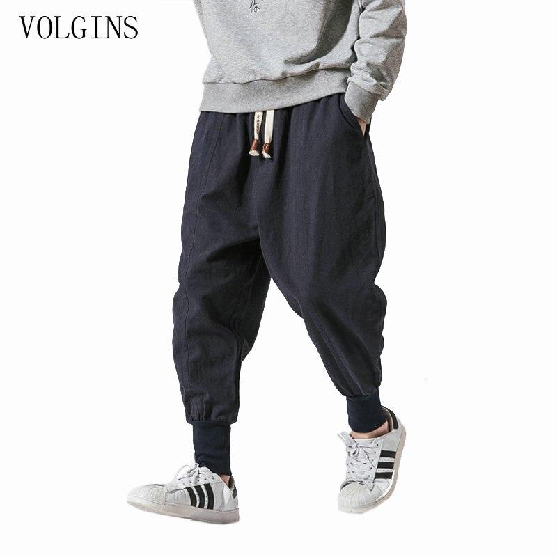 Streetwear Men Harem Pants Japanese Style Casual Cotton Linen Trouser Man Jogger Pants Chinese Baggy Pants Plus Size 5XL