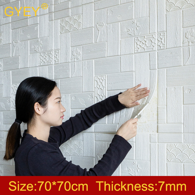 Self-adhesive 3D Wall Stickers Decorative Bedroom Bedside Living Toom TV Background Wall Paper Waterproof  70*70 Wallpaper