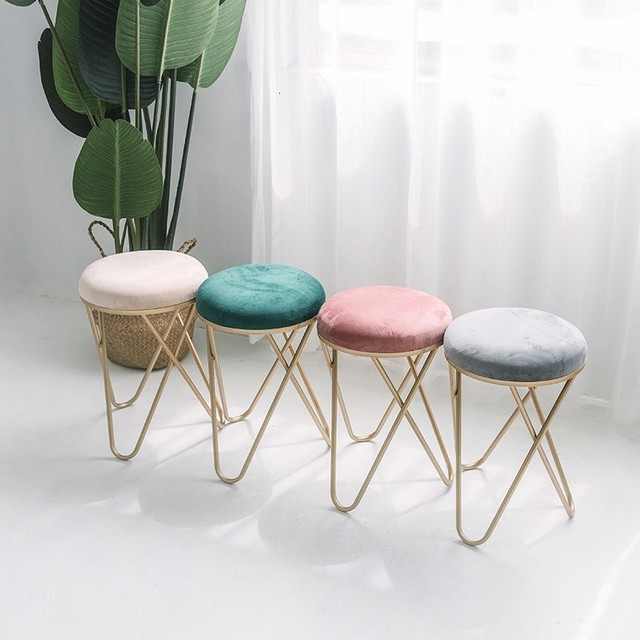 Iron Stool Dressing Chair Northern Europe Restaurant Stool Bedroom Modern Stool Ins Originality Small Round Stool Shoes Stool 1
