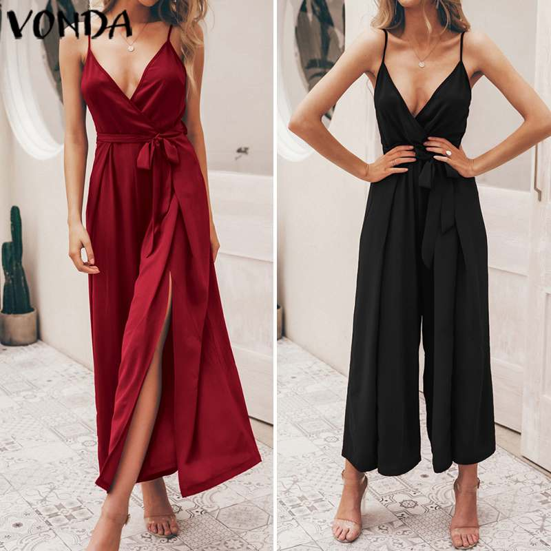 Bohemian Rompers Womens Jumpsuits VONDA 2020 Summer Sexy Wide Leg Pants Beach Long Playsuit Casual Loose Overalls Plus Size