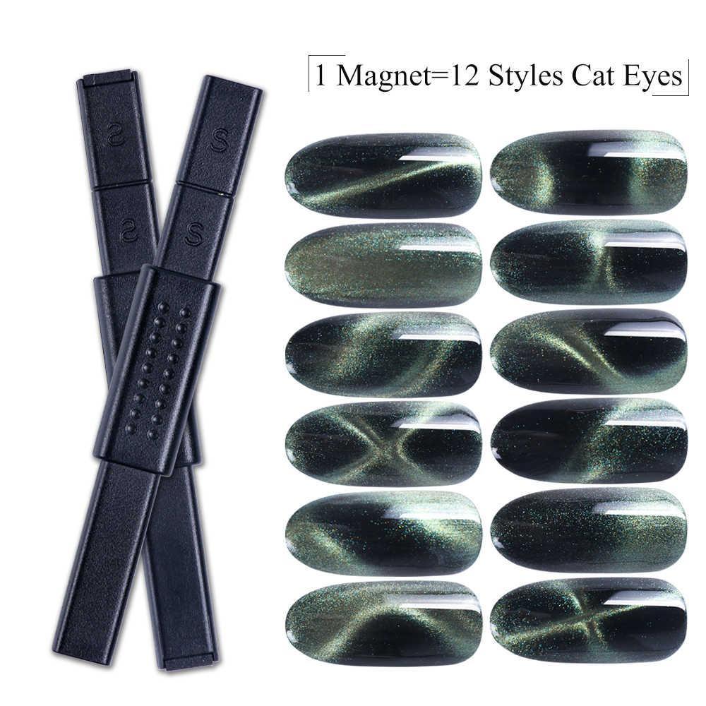3D kedi gözü manyetik sopa 12 in 1 mıknatıslı tahta kalem kedi gözü jel lehçe tırnak akrilik Charm çizgi şerit DIY aracı CH948-1