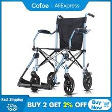Cofoe Sedia A Rotelle Pieghevole Ruota di Trasporto Sedia In Alluminio Leggero Disabili Carrozzina Maneggevolezza Brougham per i Disabili